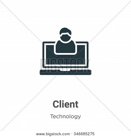 Client Glyph Icon Vector On White Background. Flat Vector Client Icon Symbol Sign From Modern Techno