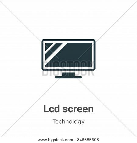 Lcd Screen Glyph Icon Vector On White Background. Flat Vector Lcd Screen Icon Symbol Sign From Moder