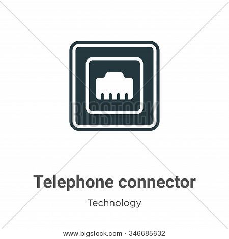 Telephone Connector Glyph Icon Vector On White Background. Flat Vector Telephone Connector Icon Symb