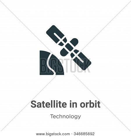 Satellite In Orbit Glyph Icon Vector On White Background. Flat Vector Satellite In Orbit Icon Symbol