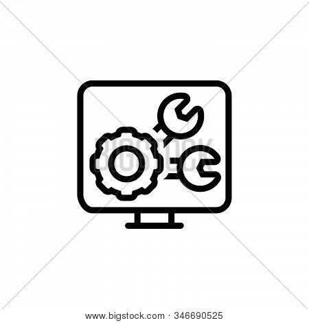 Black Line Icon For Development Ios Growth Progress Programmer Software Technology Settings