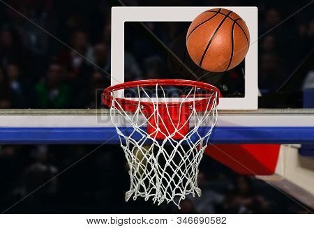 Basketball Shot To The Hoop In A Competitive Game In Close Up