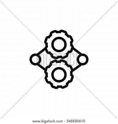 Black Line Icon For Engine Ios Gears Seo Machine Performance Automobile Motor