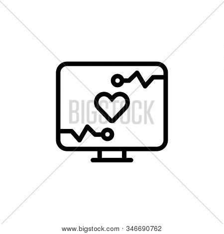 Black Line Icon For Monitoring Ios Computer Heart Medical Operator Equipment