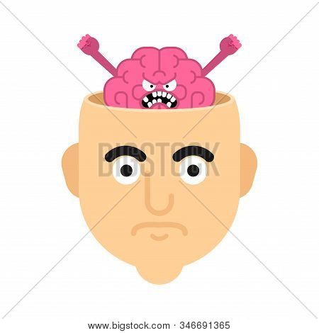 Bad Brain In Head Isolated. Bad Thoughts. Vector Illustration