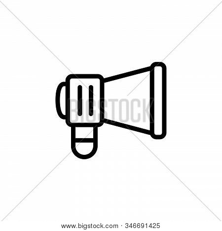 Black Line Icon For Campaign Marketing Ios Megaphone Communication Optimization Promotion E-commerce