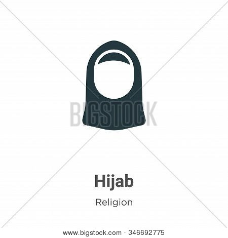 Hijab Glyph Icon Vector On White Background. Flat Vector Hijab Icon Symbol Sign From Modern Religion