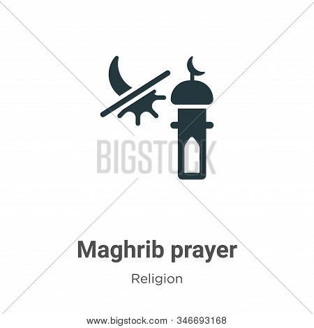 Maghrib Prayer Glyph Icon Vector On White Background. Flat Vector Maghrib Prayer Icon Symbol Sign Fr
