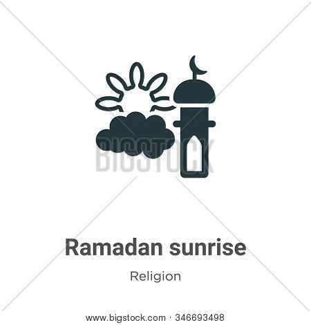 Ramadan Sunrise Glyph Icon Vector On White Background. Flat Vector Ramadan Sunrise Icon Symbol Sign