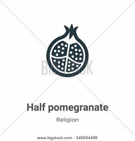 Half Pomegranate Glyph Icon Vector On White Background. Flat Vector Half Pomegranate Icon Symbol Sig