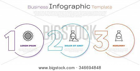 Set Line Sunflower, Bag Of Flour And Bag Of Flour. Business Infographic Template. Vector