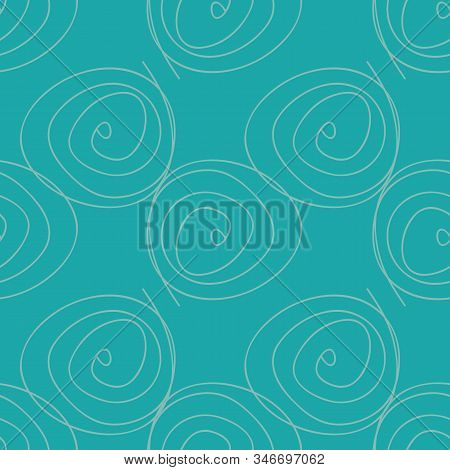 Swirly On Blue Seamless Doodle Surface Pattern Design Vector Background