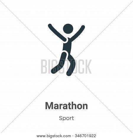 Marathon Glyph Icon Vector On White Background. Flat Vector Marathon Icon Symbol Sign From Modern Sp