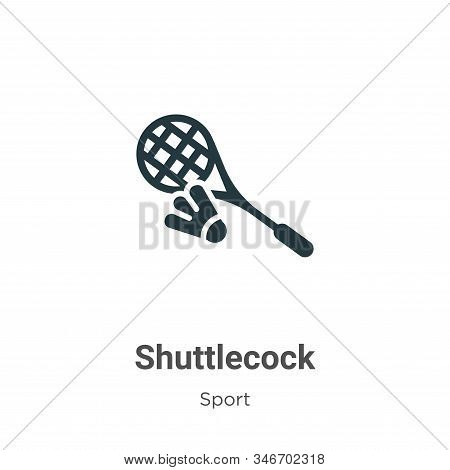 Shuttlecock Glyph Icon Vector On White Background. Flat Vector Shuttlecock Icon Symbol Sign From Mod
