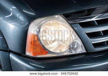 Novosibirsk, Russia - November 01, 2019: Suzuki Xl7, Blue Car Headlights. Exterior Detail. Close Up