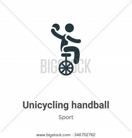 Unicycling Handball Glyph Icon Vector On White Background. Flat Vector Unicycling Handball Icon Symb