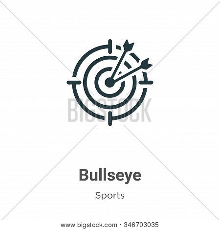 Bullseye Glyph Icon Vector On White Background. Flat Vector Bullseye Icon Symbol Sign From Modern Sp