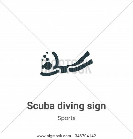Scuba Diving Sign Glyph Icon Vector On White Background. Flat Vector Scuba Diving Sign Icon Symbol S