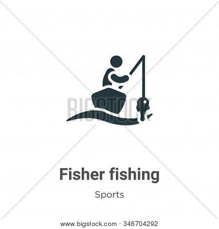 Fisher Fishing Glyph Icon Vector On White Background. Flat Vector Fisher Fishing Icon Symbol Sign Fr