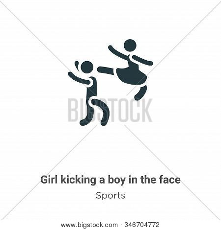 Girl kicking a boy in the face icon isolated on white background from sports collection. Girl kickin