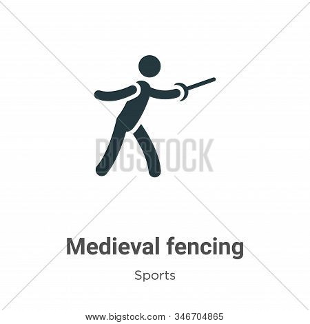 Medieval Fencing Glyph Icon Vector On White Background. Flat Vector Medieval Fencing Icon Symbol Sig