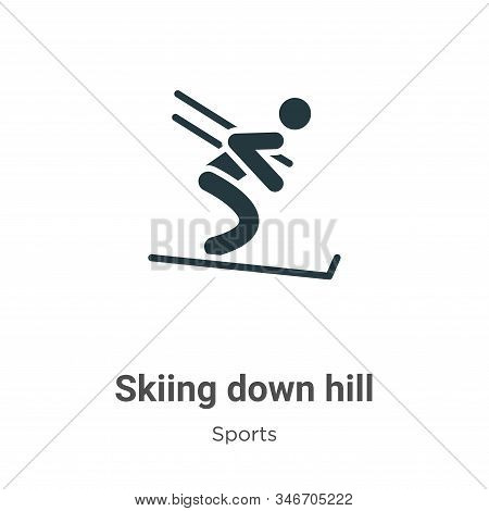 Skiing down hill icon isolated on white background from sports collection. Skiing down hill icon tre