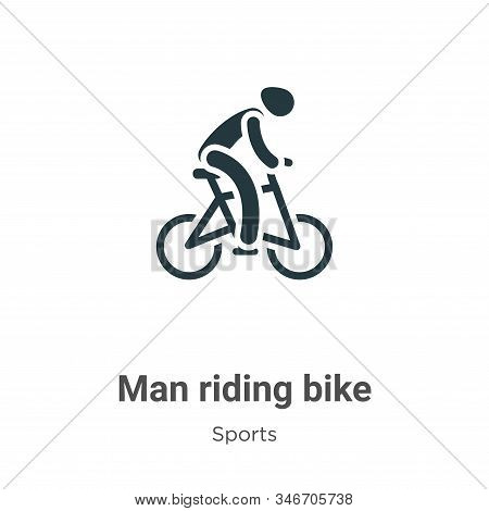Man Riding Bike Glyph Icon Vector On White Background. Flat Vector Man Riding Bike Icon Symbol Sign