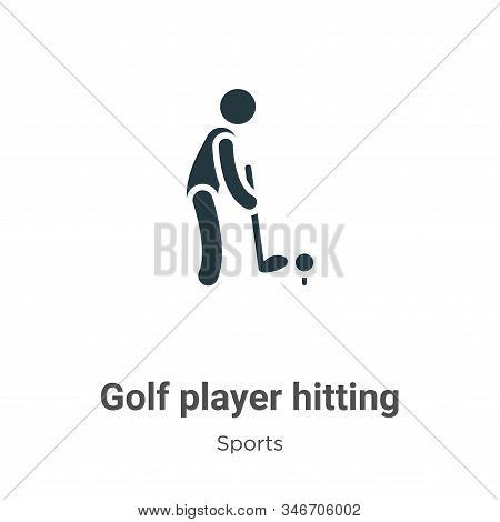 Golf Player Hitting Glyph Icon Vector On White Background. Flat Vector Golf Player Hitting Icon Symb