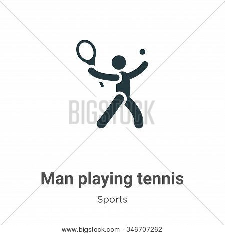 Man playing tennis icon isolated on white background from sports collection. Man playing tennis icon