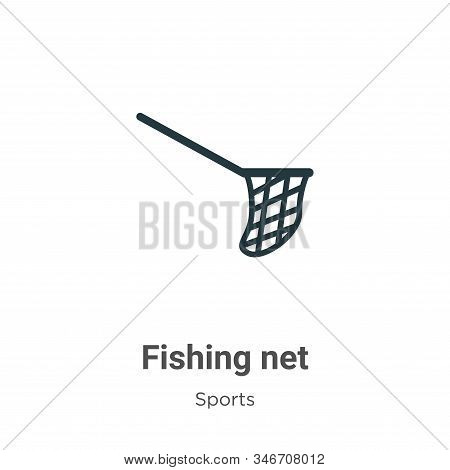 Fishing Net Glyph Icon Vector On White Background. Flat Vector Fishing Net Icon Symbol Sign From Mod