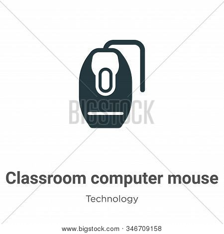 Classroom Computer Mouse Glyph Icon Vector On White Background. Flat Vector Classroom Computer Mouse