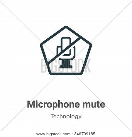 Microphone Mute Glyph Icon Vector On White Background. Flat Vector Microphone Mute Icon Symbol Sign