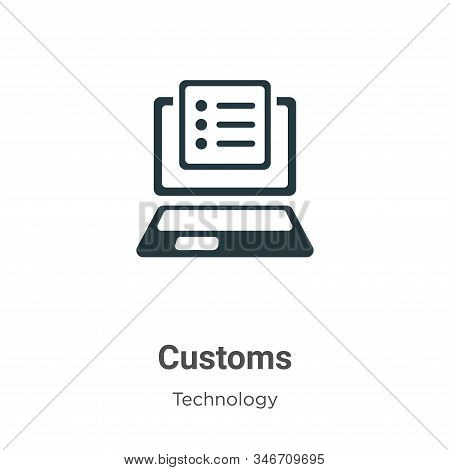 Customs Glyph Icon Vector On White Background. Flat Vector Customs Icon Symbol Sign From Modern Tech