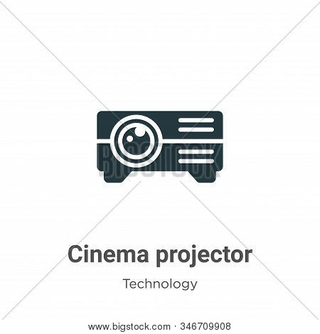 Cinema Projector Glyph Icon Vector On White Background. Flat Vector Cinema Projector Icon Symbol Sig