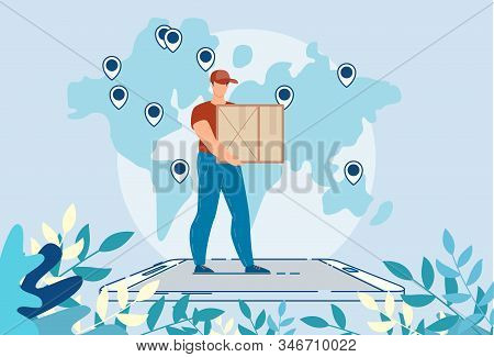 Worldwide Logistic Delivery Online Mobile Service. Man Courier Character Carrying Package Box Standi