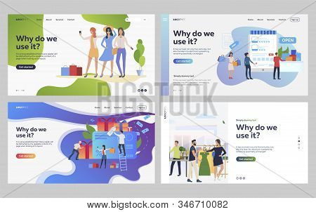 Set Of Customers Purchasing Fashionable Clothes. Flat Vector Illustrations Of People Shopping Online