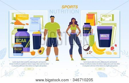 Sport Nutrition For Active Man And Woman Banner. Fruits And Vegetable Smoothies, Protein Powder, Mul