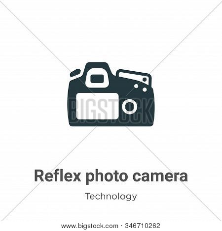 Reflex Photo Camera Glyph Icon Vector On White Background. Flat Vector Reflex Photo Camera Icon Symb