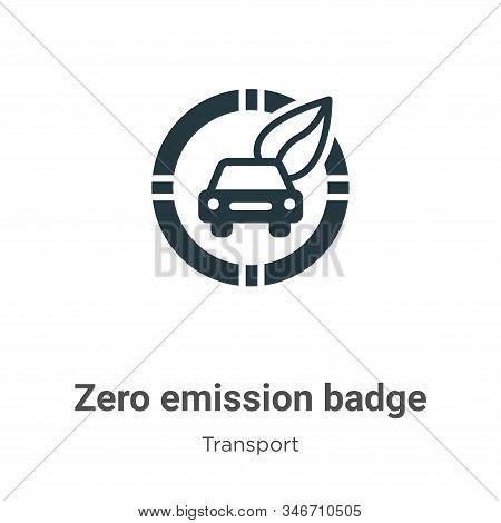 Zero Emission Badge Glyph Icon Vector On White Background. Flat Vector Zero Emission Badge Icon Symb