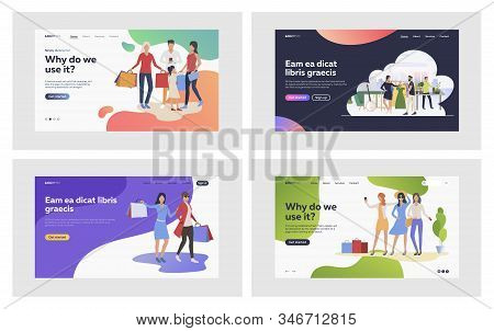 Shopping Women Set. Groups Of Customers With Bags Walking, Choosing Clothes. Flat Vector Illustratio