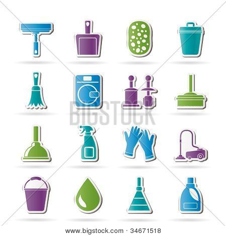 Cleaning and hygiene icons - vector icon set poster