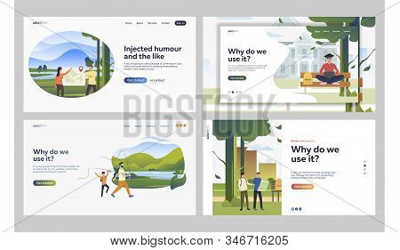 Set Of People Spending Leisure Time In Nature Parks. Flat Vector Illustrations Of Friends Searching