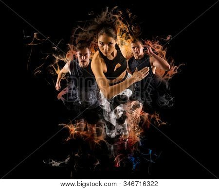 Running collage. Men and woman running on smoke background. Mixed image