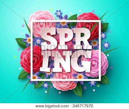 Spring Vector Concept Design. Spring Text 3d Typography With White Boarder, And Colorful Elements Li