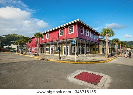 Road Town, Tortola, Bvi - December 16, 2018: Street View Of Road Town At Day With Tourist Shops And