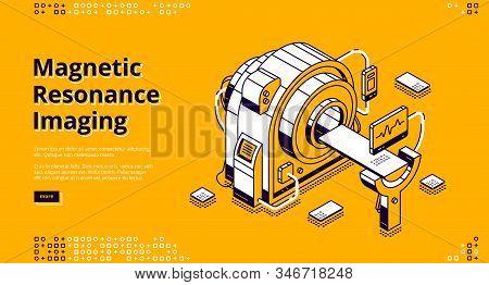 Magnetic Resonance Imaging Isometric Landing Page. Mri Scanner In Hospital, Digital Technology In Me