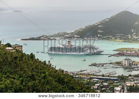 Road Town, Tortola, Bvi - December 16, 2018: Cruise Ships Riviera And Costa Magica Moored In Road Ha
