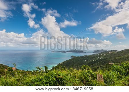 View Of Tropical Shoreline Of Tortola In Bvi, Caribbean