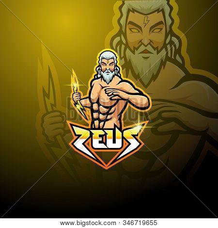 Zeus Esport Mascot Logo Design With Text