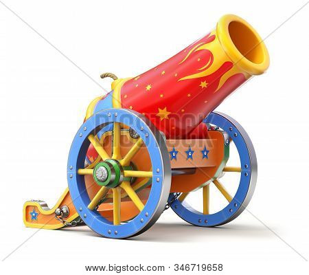 Ancient Circus Cannon On White Background - 3d Illustration